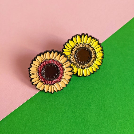 Sunflower Pin - Summer Enamel Pin - Colorful Soft Enamel Pin Badge - Plant Lover Pins - Easy Gifts For Her - Mothers Day Gift - For Mum