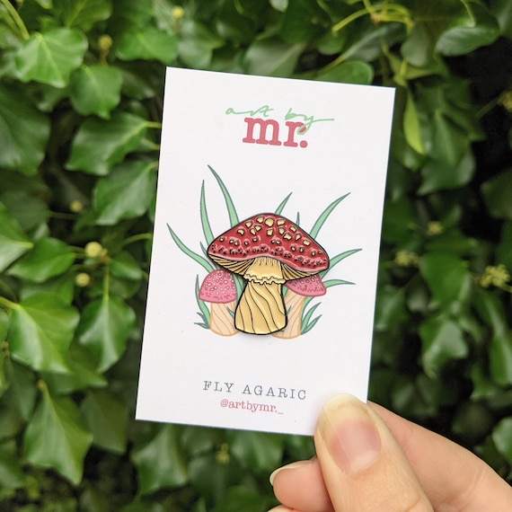 Mushroom Enamel Pin - Toadstool Fly Agaric - Fungi Lapel Pin - Mushroom Soft Enamel Pin - Autumn Badge - Cute Pins - Stocking Stuffer Filler