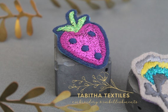 Irish Machine Embroidered Cornish Strawberry Brooch