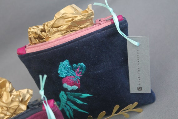 Embroidered Leather Napa Purse