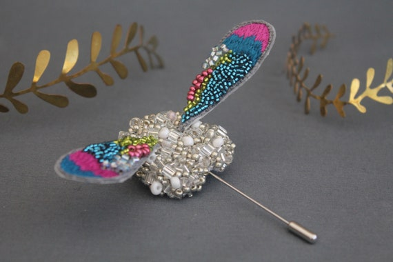 Embellished Bug Silver Lapel Brooch