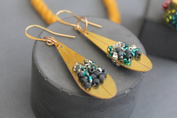 Gold plated Brass Drop Earrings
