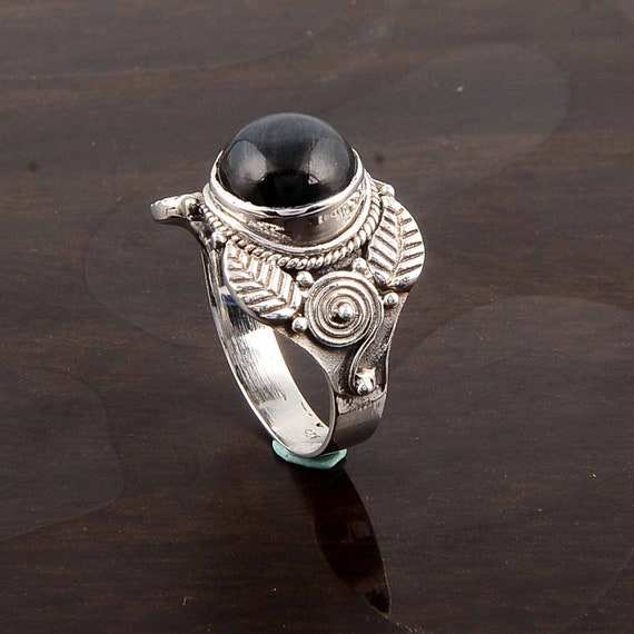 Knitted Niobium Ring Colorful Gemstone Ring With Onyx Contemporary Sterling Ring For Mother Day Gift For Her Copper Color Ring With Flowers