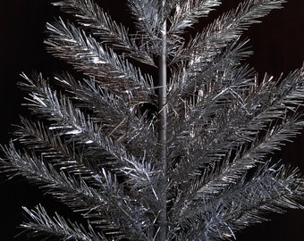 Vintage aluminum silver Christmas tree 49 inches Soviet sectional artificial Christmas tree Made in USSR Christmas gift