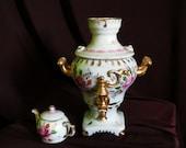 Vintage porcelain Gzhel samovar Decorative original Gzhel samovar with teapot hand painted Antique collectible samovar Christmas gift