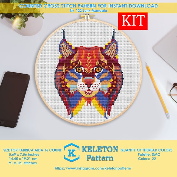 LYNX FACE CROSS STITCH CHART