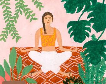 In Meditation Art Print | Lady Art Print | Plant Illustration | Bohemian | Illustration | Burnt Orange | Bohemian Art