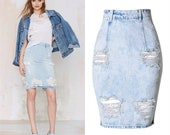 Classic Ripped Jeans Midi Skirt High Waisted Denim Jeans, Blue Jeans, Women Flared Jeans, Skirt Jeans, Ripped Jeans