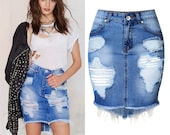 Classic Ripped Jeans Short Skirt High Waisted Denim Jeans, Blue Jeans, Women Flared Jeans, Skirt Jeans, Ripped Jeans