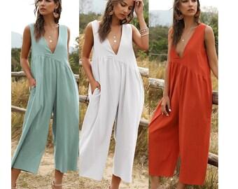 Prsun Women Strapless Bohemian Beach Print Loose Wide Leg Rompers Jumpsuit