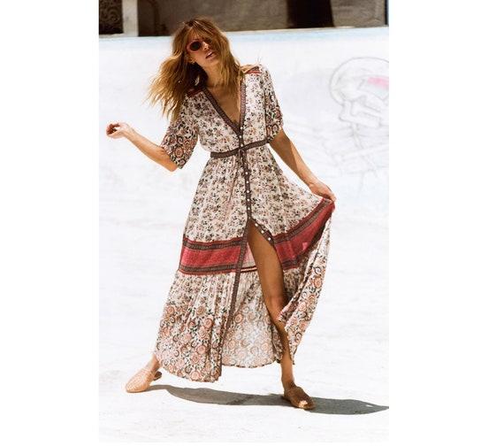 Bohemian Style Half Sleeve Long Kadigan Dress, Women Plus Size Dress,  Vacation Dress, Beach Dress, Women Boho Dress Folkloric