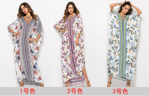 Bohemian Style Plus Size Half Sleeve Blue Striped Maxi Dress, Women Plus  Size Chiffon, Vacation Dress, Beach , Women Boho Dress Folkloric