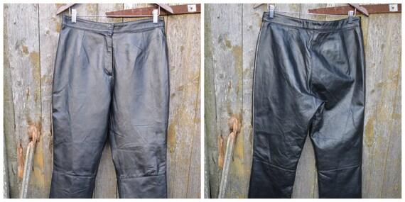 Vintage Leather Pants, Black Leather Pants size L - image 9