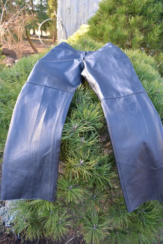 Vintage Leather Pants, Black Leather Pants size L - image 7