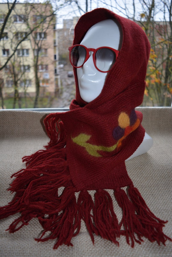 Red long wool  scarf