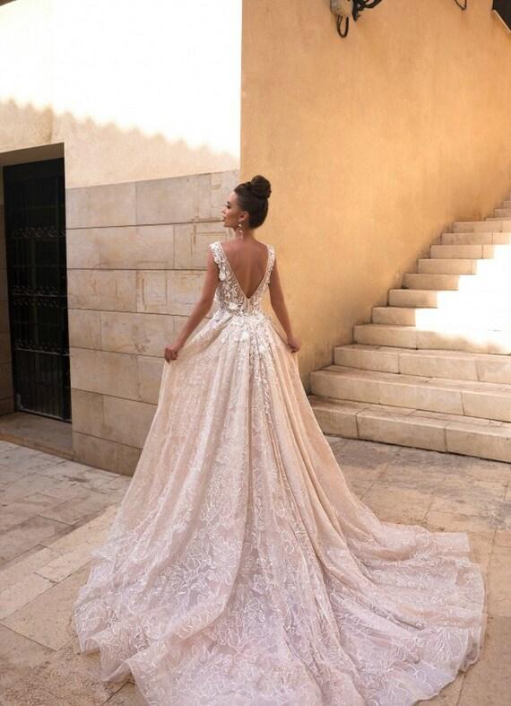 Open Back Wedding Dress Long Wedding Dress Sleeveless Boho Etsy
