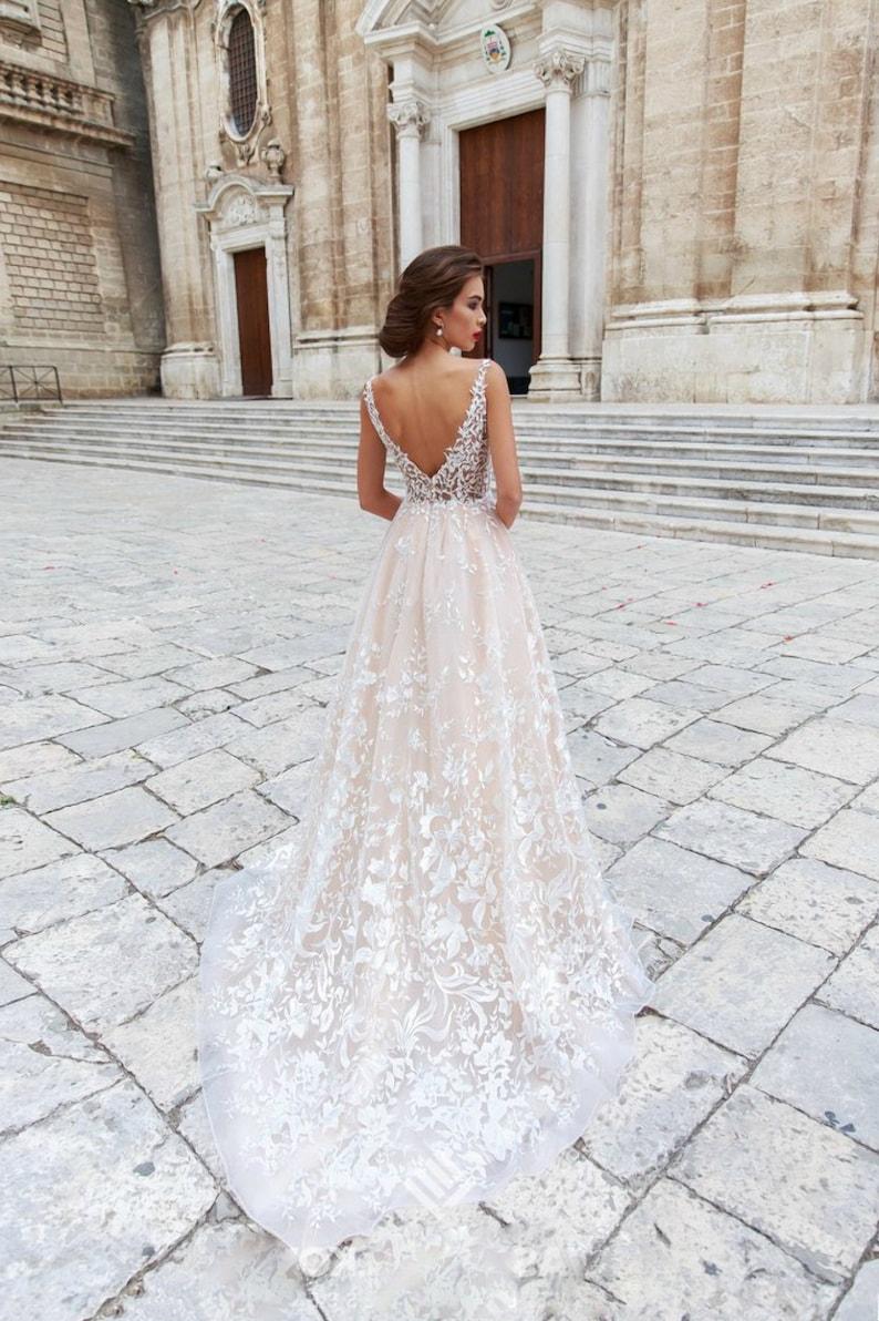 Floral wedding dress in boho style, rustic wedding , long wedding dress, bridal dress, beach wedding dress, lacy dress, V neckline dress 007