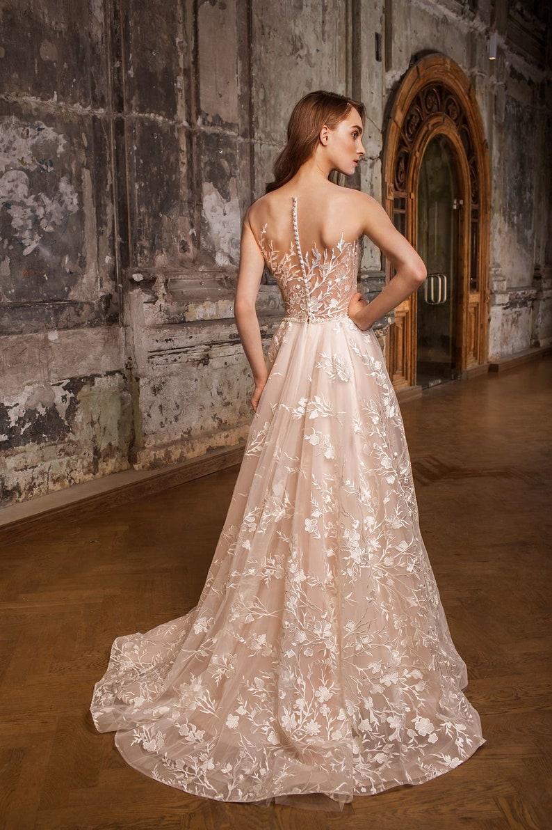 Lace floral dress with open back beige and white bridal image 0