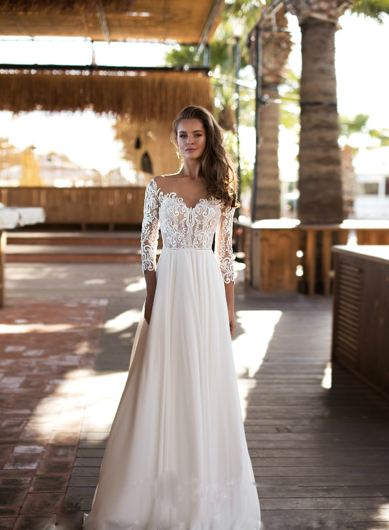 Floral wedding dress with long sleeves and open back sexy image 1
