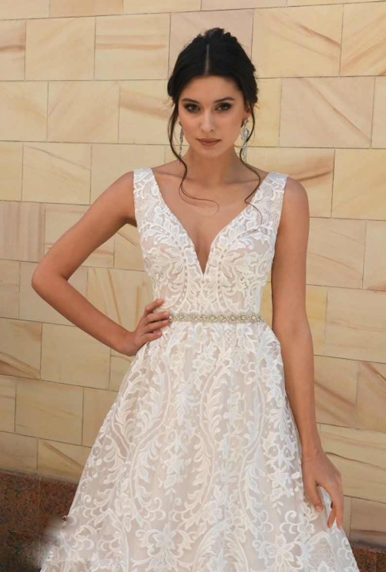 Wedding A line dress with floral lace bridal dress with lush image 0