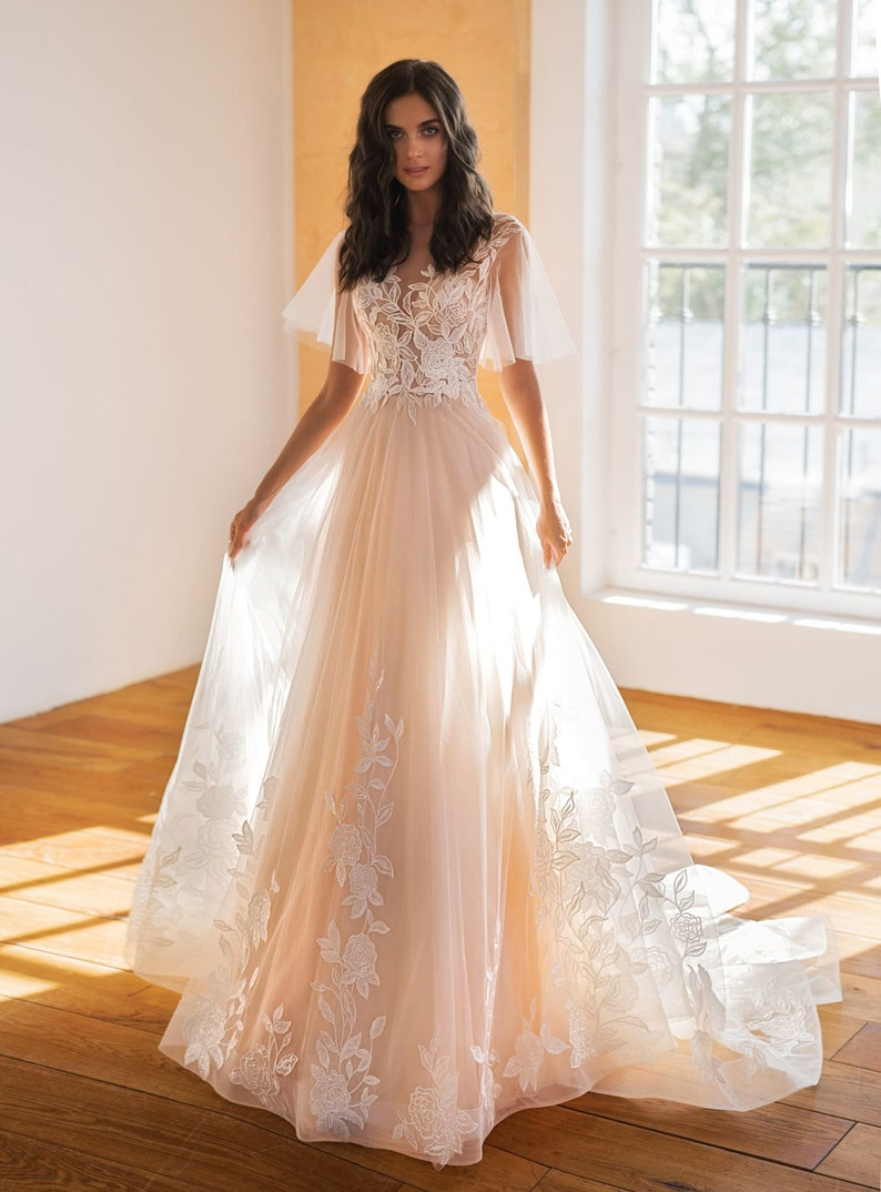 Floral lace wedding dress tulle sleeve bridal dress wedding image 2