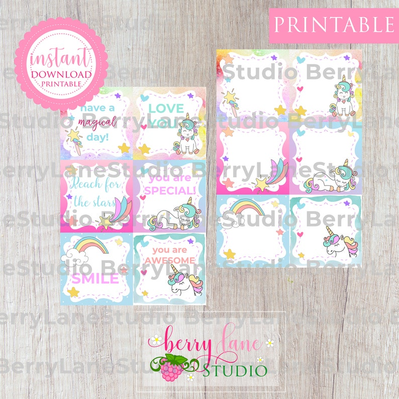 Printable Back to School Note Lunch Box Notes Unicorn Lunch Notes Lunch Box Notes for Kids Lunch Notes for Girls Instant Unicorn