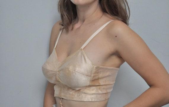 Rare 30s vintage bra French lingerie silk satin pe