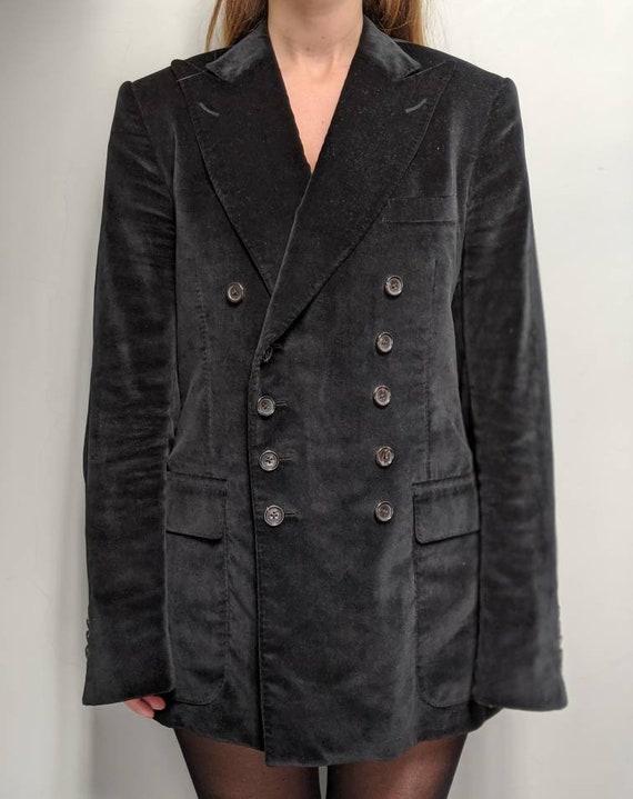 Gucci Double Breasted Velvet Blazer in Black