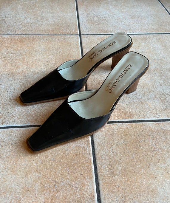 Vintage Black Leather Mules Square Toe | Size 38