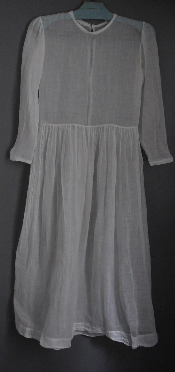 Antique French White Communion dress transparent c