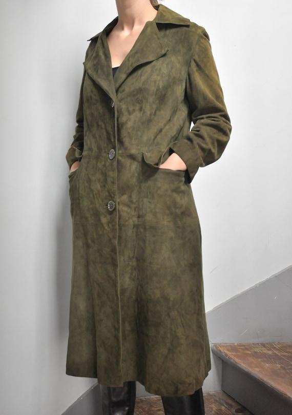 Vintage Suede Leather Jacket Coat in Green