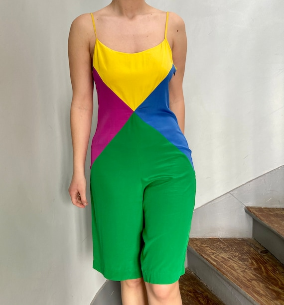 Vintage colorful geometric jumpsuit in silk | Size