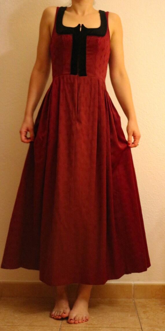 1930's/1940's Dirndl Dark Red Wool Dress made in A