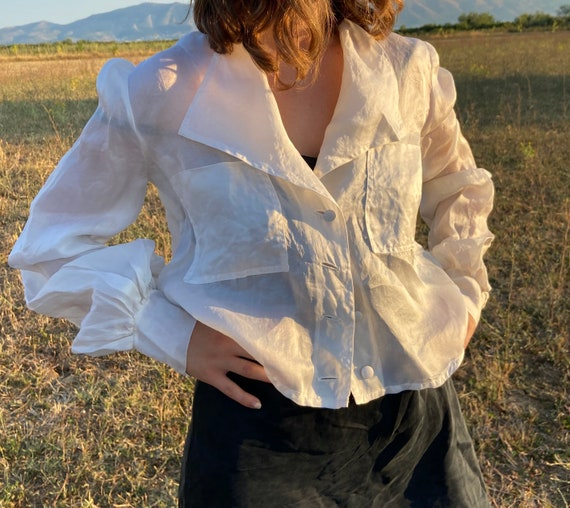 Vintage white organza blouse | Romantic top | Bish