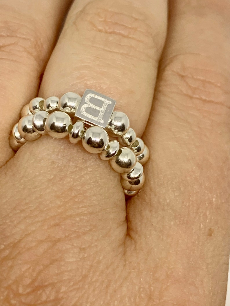 Sterling Silver Stackable Ring simple Silver Ring. 925 sterling Silver stretch bead stacking ring Thin Silver Bead Ring
