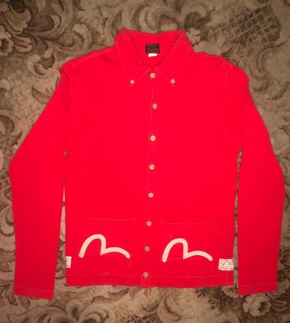 evisu cotton button over shirt, cardigan