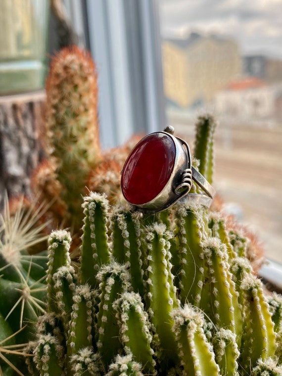 Vintage Ruby & 925 sterling silver ring - image 2