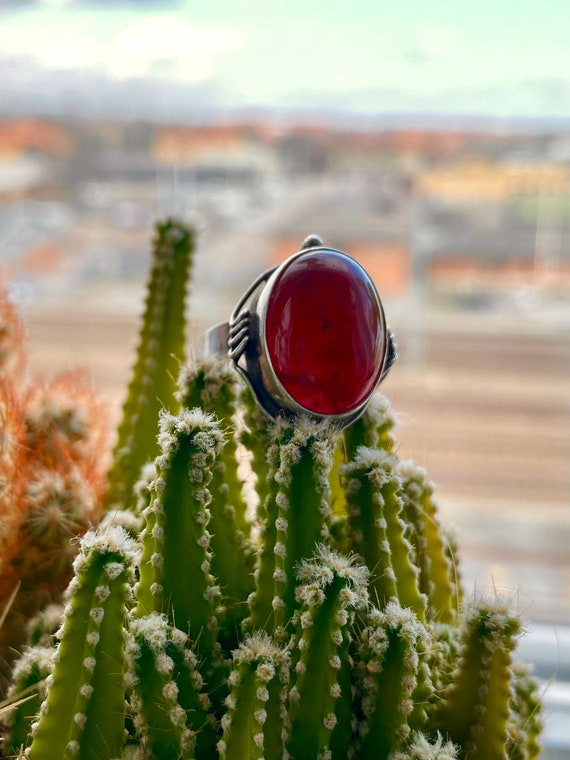 Vintage Ruby & 925 sterling silver ring - image 3