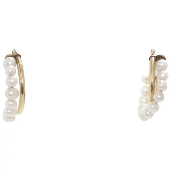 14k Gold Cultured Pearl Hoop Earrings