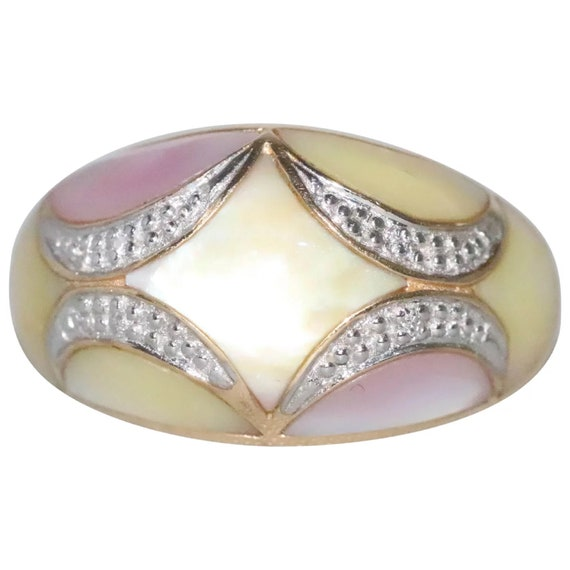 14K Yellow Gold Pink Yellow Diamond Mother Of Pear