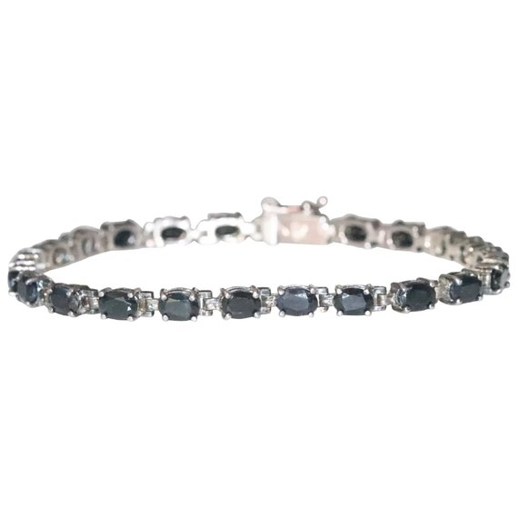 Sterling Silver 4.40 CT Sapphire Tennis Bracelet