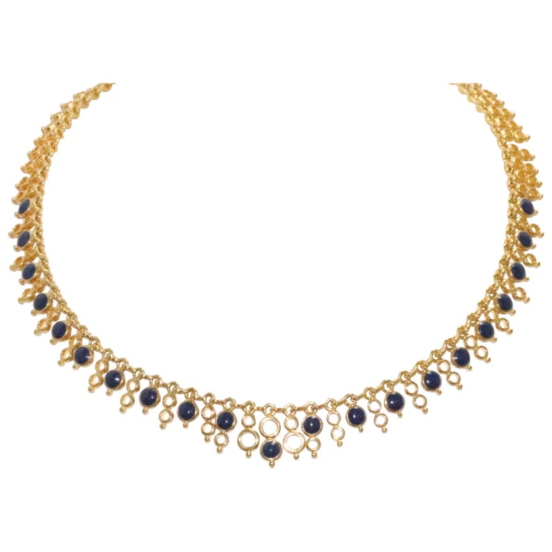 Vintage Two Sided Joan River Lapis And Cubic Zirconia Necklace