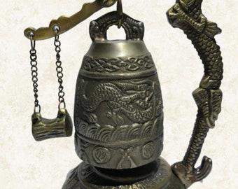 Antique Dragon Ganesha Elephant Bell Bronze Famous Clapper Hanging Sound Buddha