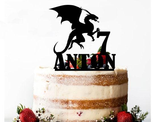 Awesome Dragon Birthday Cake Topper Dragon Cake Topper Personalised Etsy Personalised Birthday Cards Veneteletsinfo