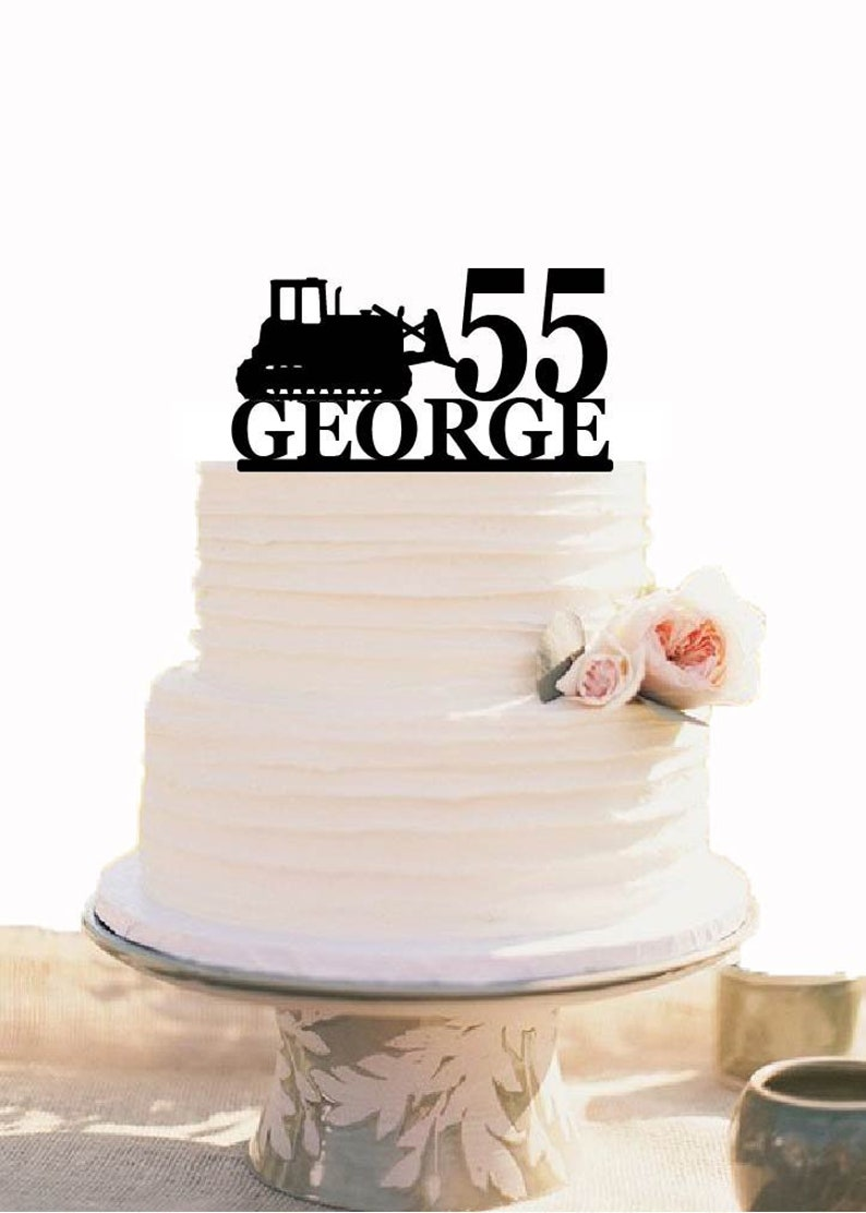 Excellent Bulldozer 50 Birthday Cake Topper Bulldozer Party Decor Etsy Personalised Birthday Cards Beptaeletsinfo