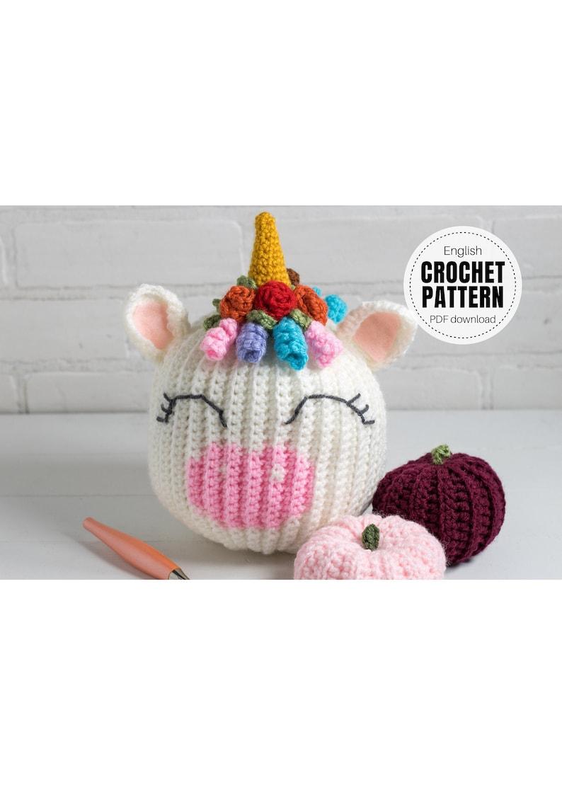 CROCHET PATTERN X Crochet Unicorn Pumpkin Pattern English PDF image 1