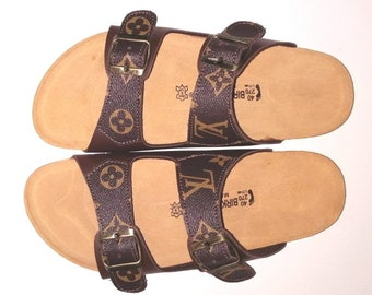 9f0848cc6aea Lv Sandales, luxury summer shoes, made from authentic bags.