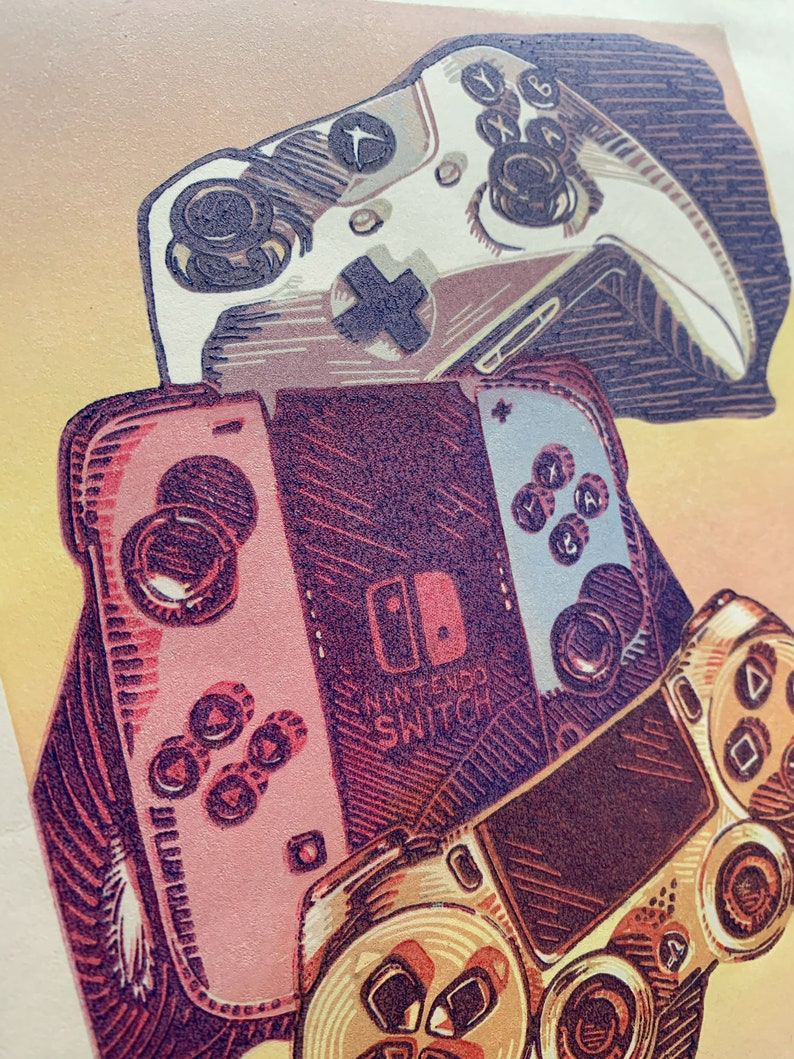 Control Yourself Video Game Controller Color Reduction Linocut Print