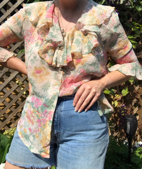 Vintage Laura Ashley Silk Frill Blouse