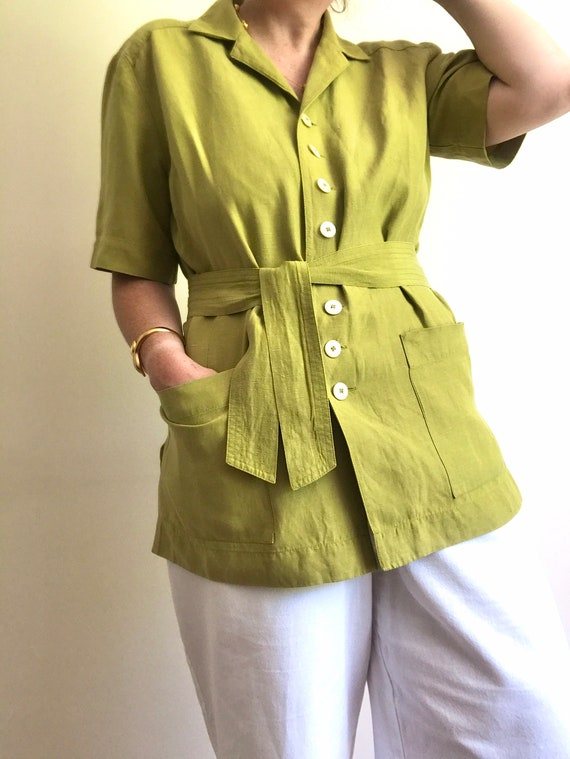 Vintage Jaeger Boxy Blouse/Jacket with Removable B